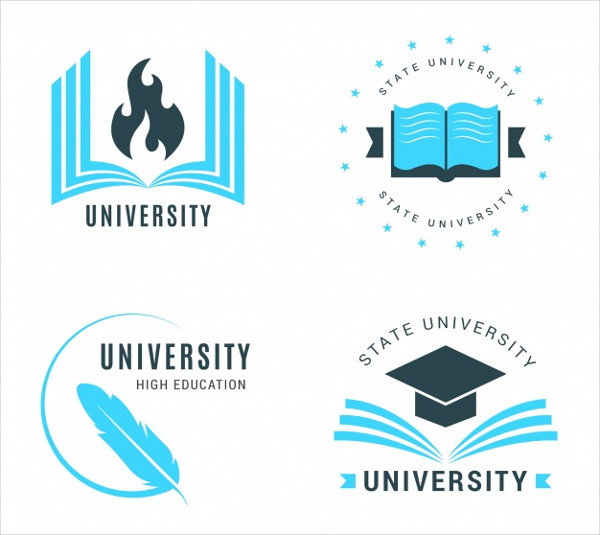 Collection of Flat University Logos Free Download