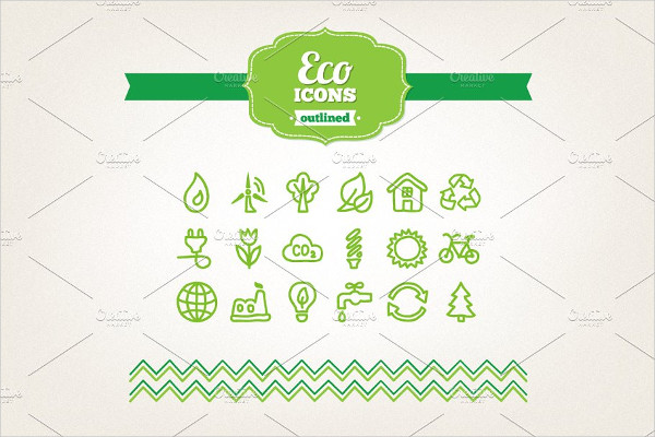 Collection of Hand Drawn Eco Icons