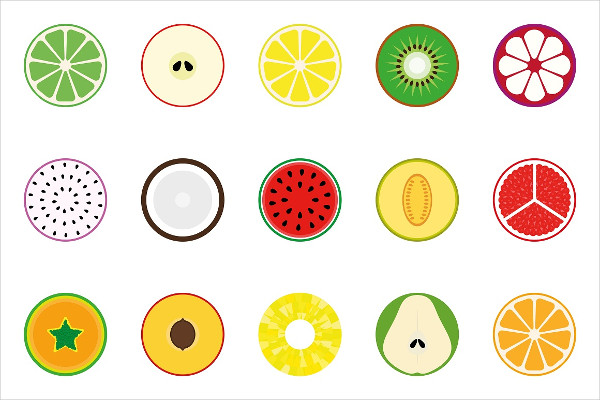 Collection of Vector Fruits Icons