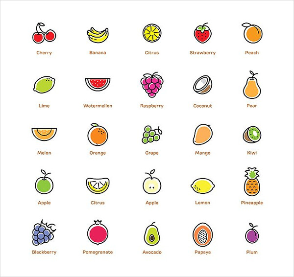 Colorful Fruits Icons Set