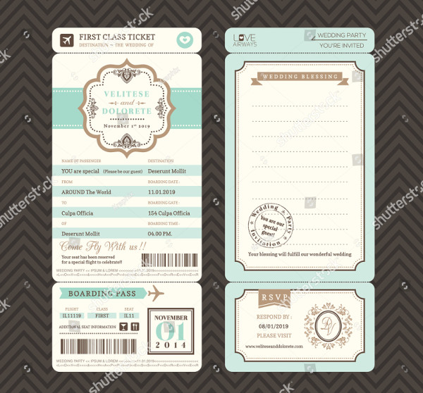 Cool Boarding Pass Ticket Wedding Invitation Template
