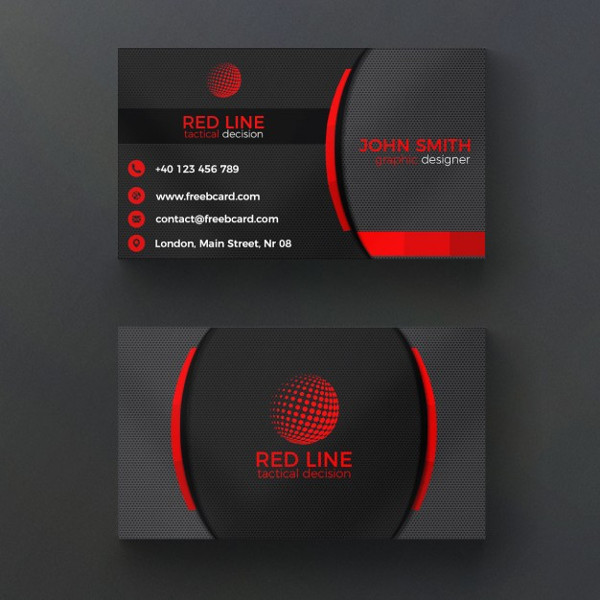 Corporate Red and Black Business Card Free