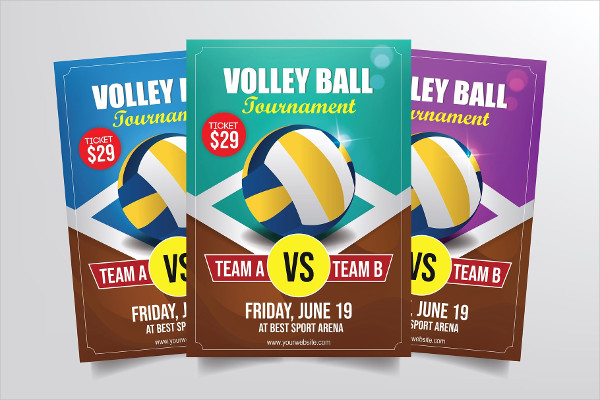 Creative Volleyball Tournament Flyer Template