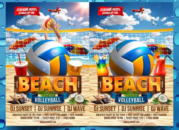 Custom Beach Volleyball Flyer Template