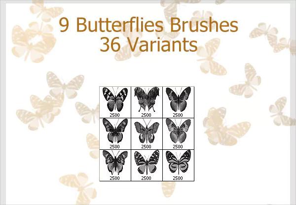Decorative Butterflies Brushes