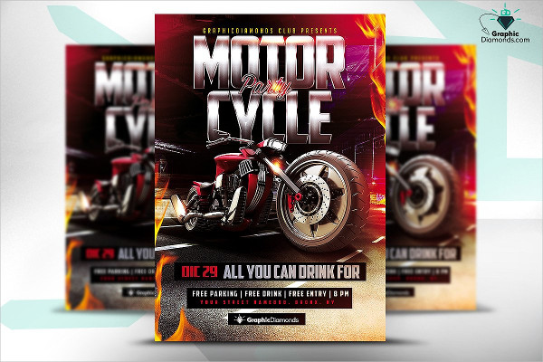 Design Motorcycle Flyer Party