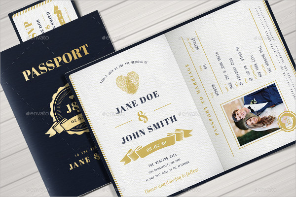 Elegant Passport Wedding Invitation Template