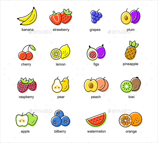 Flat Icon Set of Colored Fruits