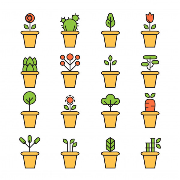 Flat Icons Set of Pot Plants