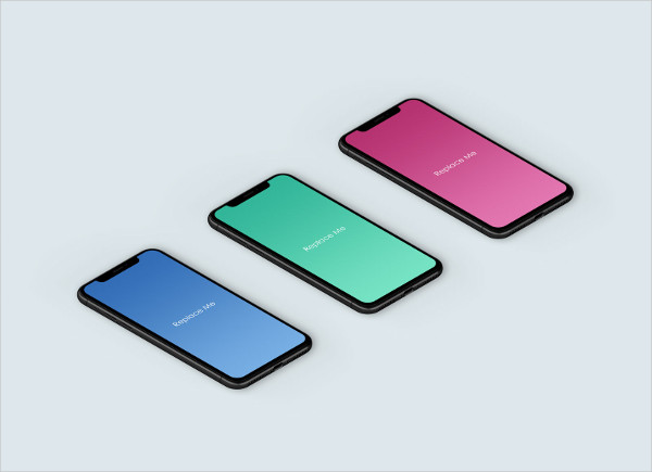Free Isometric iPhone X App Mockup PSD