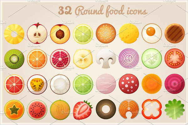 Fruit Halves and Round Food Icon Set