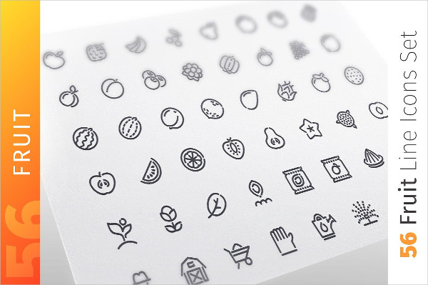Fruits Line Icons Set