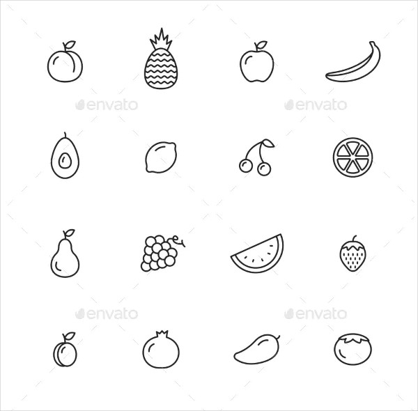 Fruits Thin Line Icons