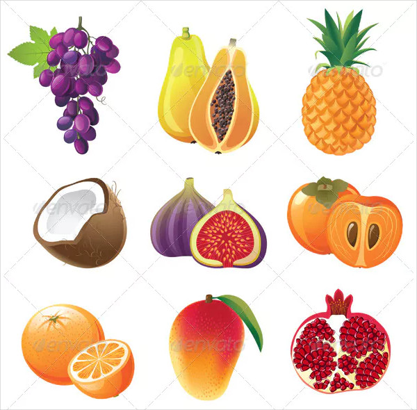 Highly Detailed Exotic Fruits Icons