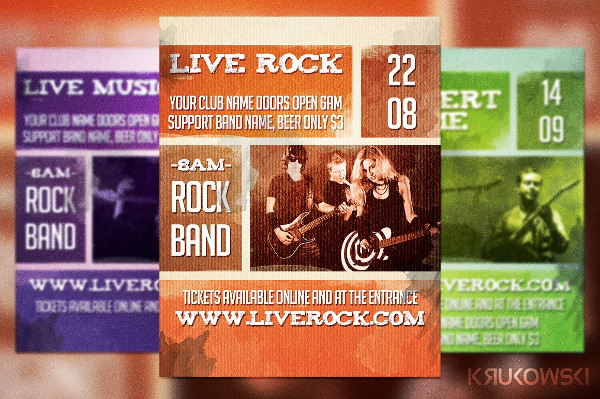 Live Rock Band Flyer Template