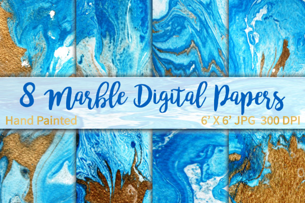 Marble Backgrounds Blue and Gold