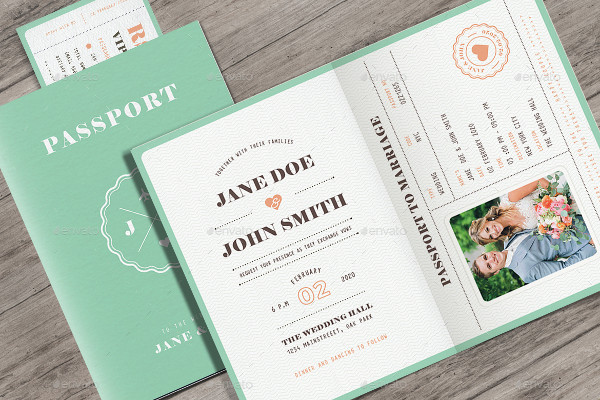 Pastel Passport Wedding Invitation
