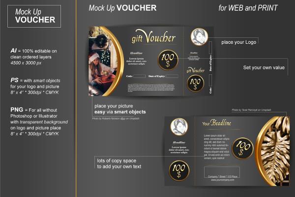 Printable Voucher Mockup Template