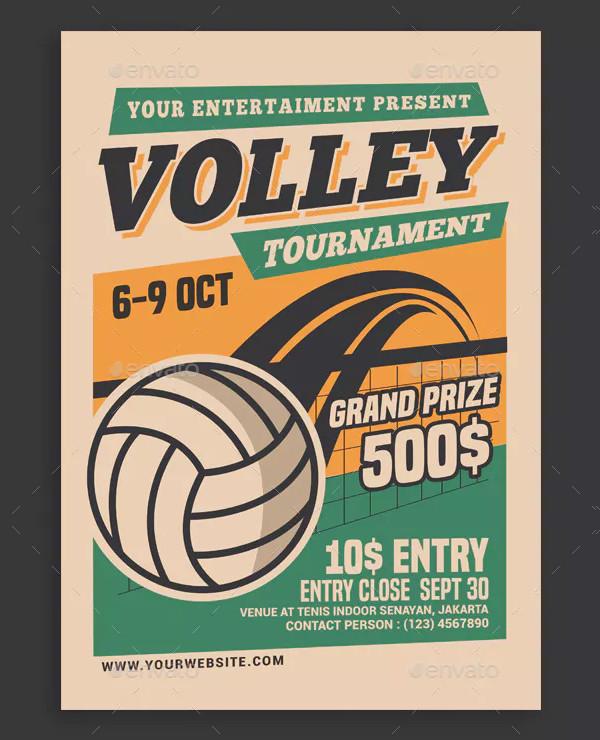 Retro Volleyball Tournament Flyer Design
