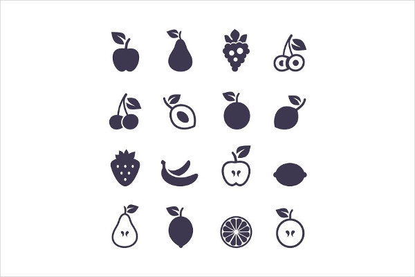 Set of Icons of Fruit