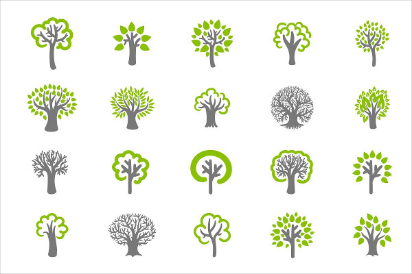 Tree Icons on White Background