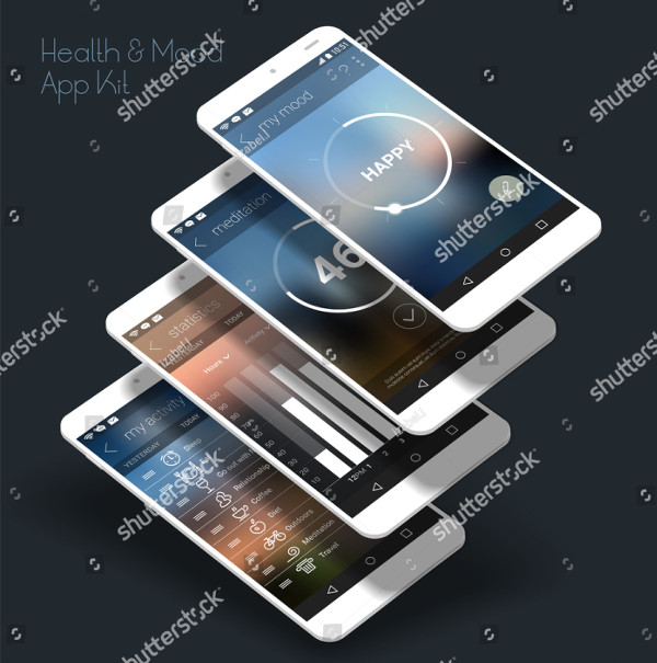 UI Mobile App with 3D Mockups