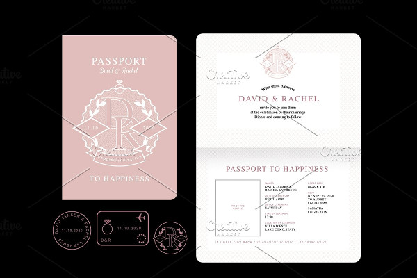 Vector Passport Wedding Invitation