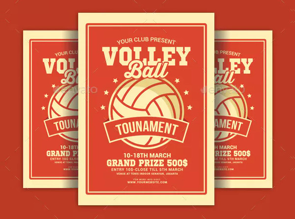 Volleyball Tournament Flyer in Vintage Style