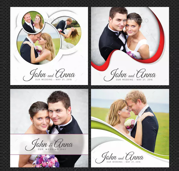 4 Wedding CD Cover Templates Bundle