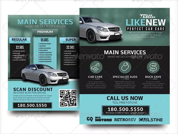Automobile Car Wash Service Flyers