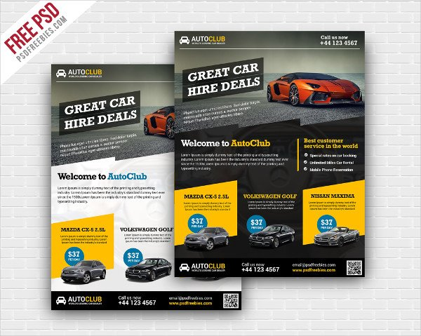 Cars Rental Flyer Free PSD Template