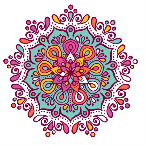 Colorful Mandala with Floral Shapes Free