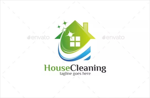 Editable House Cleaning Logo Template