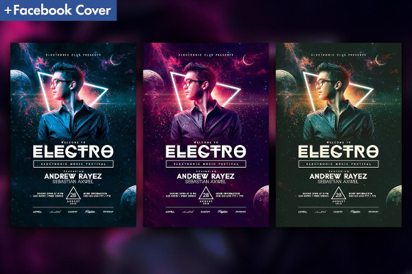 Electro House Music Flyer Template