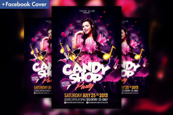 Funky Girls Night Party Flyer Template
