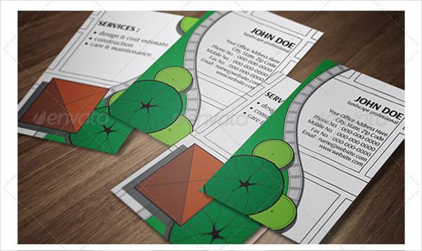 Landscape Design Vertical Business Card Template