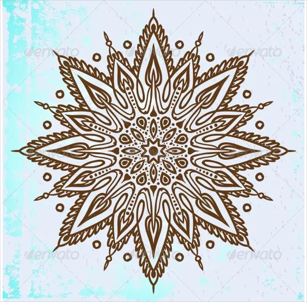 Mandala Design in Brown on Blue Background