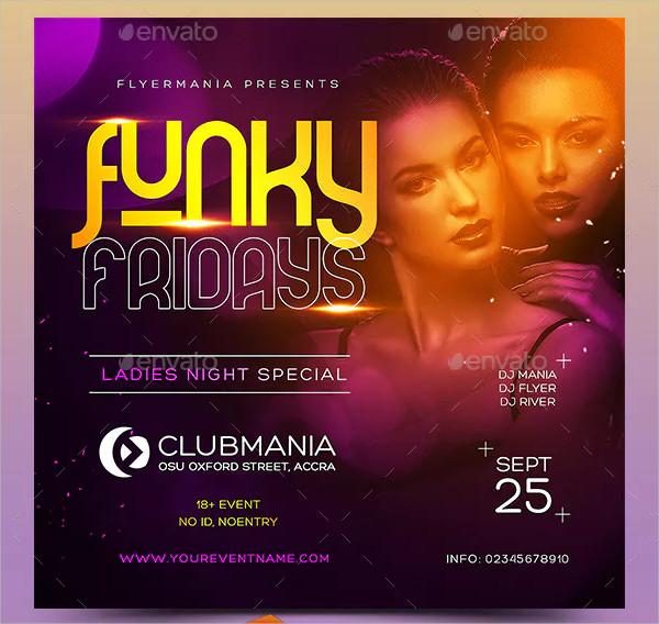 Modern Funky Fridays Flyer PSD
