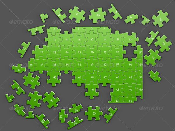 Puzzles 70 Pieces Mockup