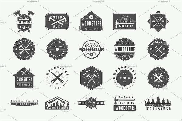 Set of Vintage Carpentry Logos