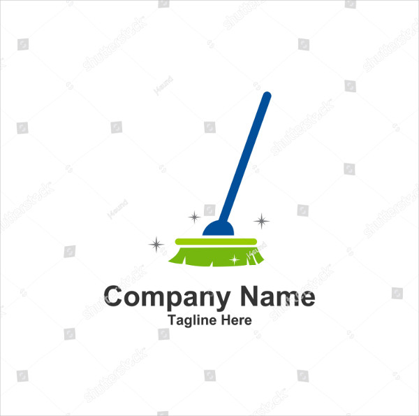 Tools Cleaning Broom Logo Vector