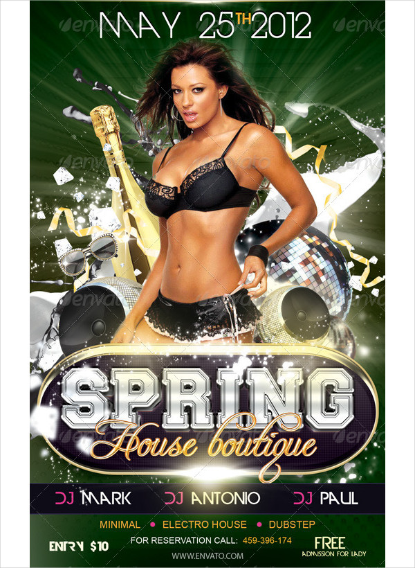 Spring House Boutique Party Flyer PSD Template