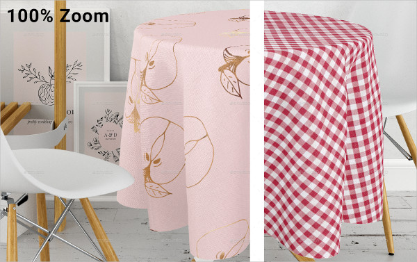Round Tablecloth in Kitchen Mockups Set