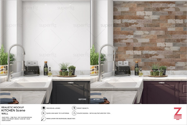 Wall Mockup Kitchen Scene