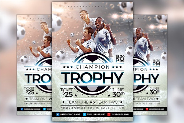 Champion Trophy Soccer Sports Flyer Template
