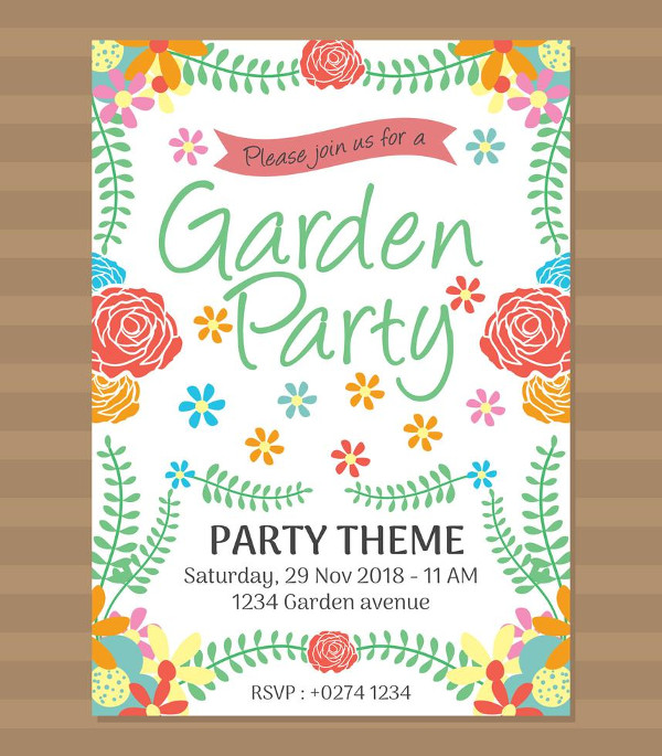 Free Garden Party Wedding Invitation Template