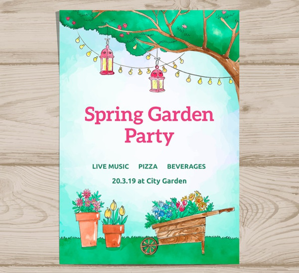 Free Spring Garden Party Invitation Template