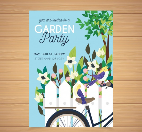 Hand Drawn Garden Party Invitation Free Download
